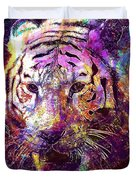 Tiger Surreal Painting Predator  Duvet Cover