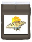 Tiger Swallowtail Butterfly, Cosmos Flower Duvet Cover