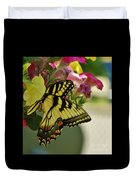 Tiger Swallowtail Butterfly On Begonia Bloom         June            Indiana Duvet Cover