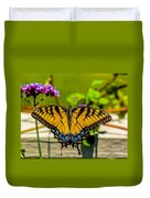 Tiger Swallowtail Butterfly By Fence Duvet Cover
