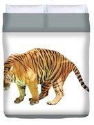 Tiger White Background Duvet Cover