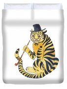 Tiger With Pipe Duvet Cover