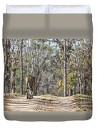 Tigress Walking Along A Track In Sal Forest Pench Tiger Reserve India Duvet Cover
