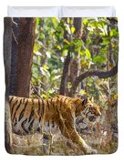 Tigress Walking Through Sal Forest In Pench Tiger Reserve  India Duvet Cover