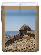 Tile Roof Tops Of Volterra Italy Duvet Cover