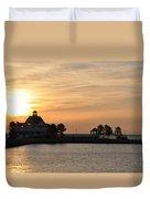 Tilghman Island Marina At Sunrise Duvet Cover