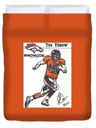 Tim Tebow 1 Duvet Cover by Jeremiah Colley