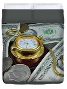 Time And Money Duvet Cover