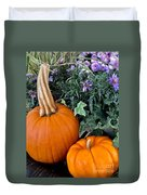 Time For Pumpkins In The Flower Beds Duvet Cover