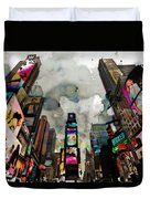 Time Square Mixed Media Duvet Cover