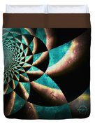 Time Travel Galaxy Portal To The Stars - Teal Green Duvet Cover