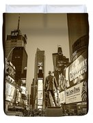 Times Square Ny Overlooking The Square Sepia Duvet Cover