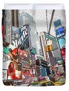 Times Square Pop Art Duvet Cover
