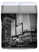 Times Square Subway Stop At Night New York Ny Black And White Duvet Cover