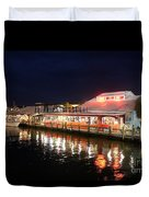 Tin City At Night -naples Fl Duvet Cover