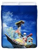 Tin Hua Temple Closeup Of Colorful Statue Duvet Cover