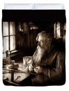 Tin Smith - Making Toys For Children - Sepia Duvet Cover