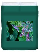Tiny Blue Flower On A Bush At Pilgrim Place In Claremont-california  Duvet Cover