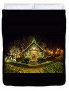 Tiny Chapel With Lighting At Night Duvet Cover