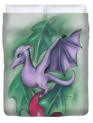 Tiny Dragon On A Holly Berry Duvet Cover by MM Anderson