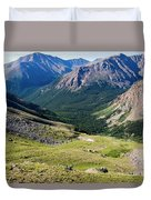 Tiny Hikers On The Mount Massive Summit Duvet Cover