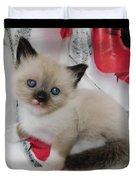 Tiny Micro Version Of Red White And Ragdoll Kitty Kitten Baby Cat Silktapestrykittenstm Duvet Cover