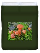 Tiny Orange Mushrooms In Moss Duvet Cover