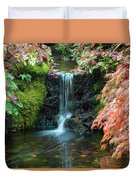 Tiny Waterfall In Japanese  Garden.the Butchart Gardens,victoria.canada. Duvet Cover