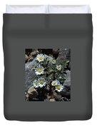 Tiny White Flowers In The Gravel Duvet Cover