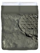 Tire Track In Gray Mud Duvet Cover