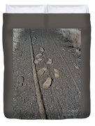 Tire Tracks And Foot Prints Duvet Cover