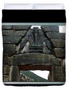 Titled Lion Gate Of Mycenae Duvet Cover
