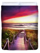 To The Beach Early Morning Watercolor Painting Duvet Cover