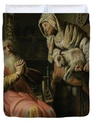Tobit And Anna With The Kid Duvet Cover