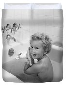 Toddler In Bath, 1950s Duvet Cover