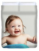 Toddler With A Cozy Blanket Sitting And Smiling. Duvet Cover