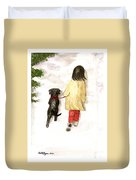 Together - Black Labrador And Woman Walking Duvet Cover