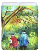 Together Old  In Italy 07 Duvet Cover by Miki De Goodaboom