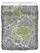 Tokyo City Map Engraving Duvet Cover