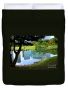 Tokyo Skyscrapers Reflection Duvet Cover