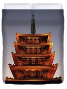 Tokyo Temple Lights At Dusk Duvet Cover