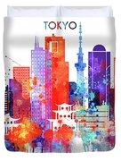 Tokyo Watercolor Duvet Cover