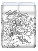 Tolkien Style Map Of Snowflakes Duvet Cover