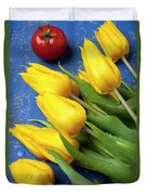 Tomato And Tulips Duvet Cover