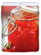 Tomato Jam In Glass Jar Duvet Cover