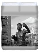 Tony Demarco Boxer Statue North End Boston Ma Sunset Black And White Duvet Cover