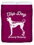 Top Dog Brewing Company Tee White Ink Duvet Cover