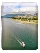 Top View Of English Bay In Summer, Vancouver Bc. Duvet Cover