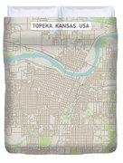 Topeka Kansas Us City Street Map Duvet Cover
