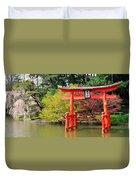Torii And Cherry Blossoms Duvet Cover